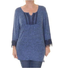 Style & Co. Women's 3/4 Sleeve Fringe Trim Top, XL, NWT