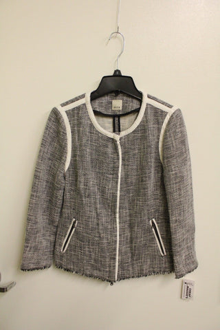 Ecru Women's Black and White Tweed Zippered Jacket S NWT
