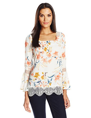 NY Collection Women's PRT Ls Bell Blouse with Tie at Back and Lace Trim