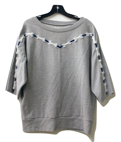 Pepin Womens Gray Embroidered 3/4 Sleeves Cotton Sweatshirt Top, Size S