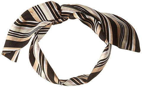 Vince Camuto Women's Pop Stripe Twilly Scarf, BLACK CAMEL, One Size