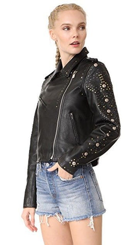 Scotch & Soda Women's Maison Scotch Leather Racing Biker Jacket - M - $775