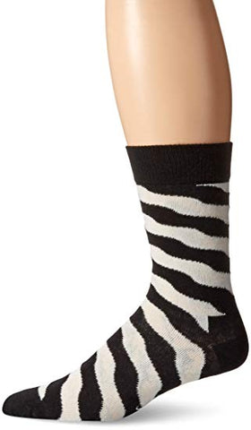 Happy Socks Men's 1 Pack Unisex Combed Cotton Crew Wave Polka, Black/White, 10-13