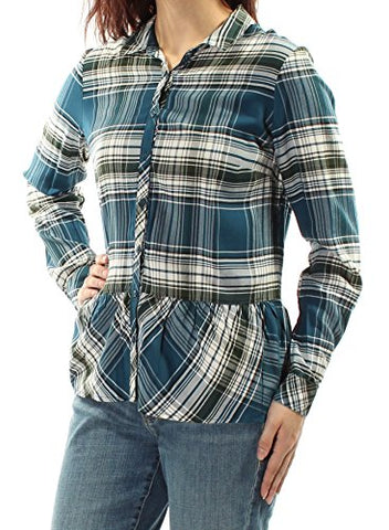 kensie Women's Plaid Button-Down High-Low Shirt Size M