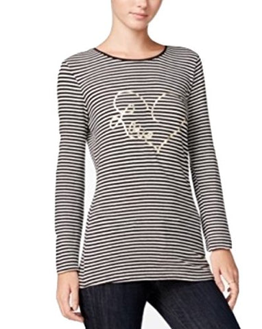 Maison Jules Womens Striped Graphic-Print Casual Top B/W L