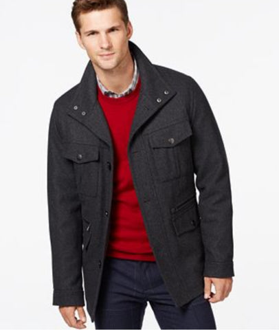 Michael Kors Men's Dark Gray Big & Tall Wool-Blend Field Coat, Size 2XB