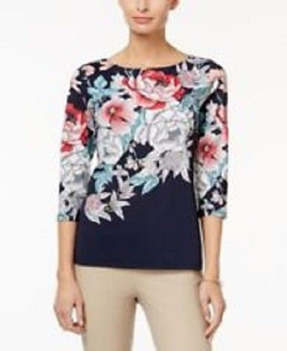 Charter Club Women's Flower Show Top, S, NWT