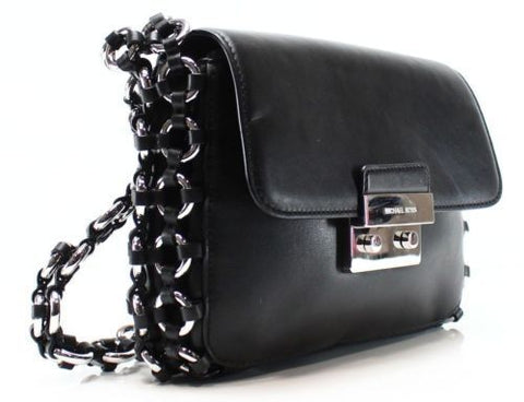 Michael Kors NEW Black Leather Ring Chain Piper Shoulder Bag Purse $498 - NWT