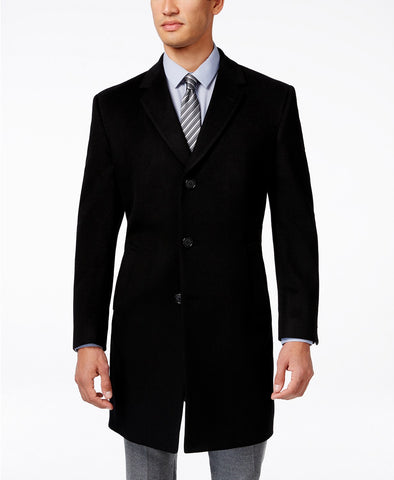 Kenneth Cole Reaction Men's Black Raburn Slim-Fit Wool-Blend Over Coat, Size 36S