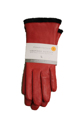 Charter Club Women's Micro Faux Fur Lined Leather Tech Gloves, Size S