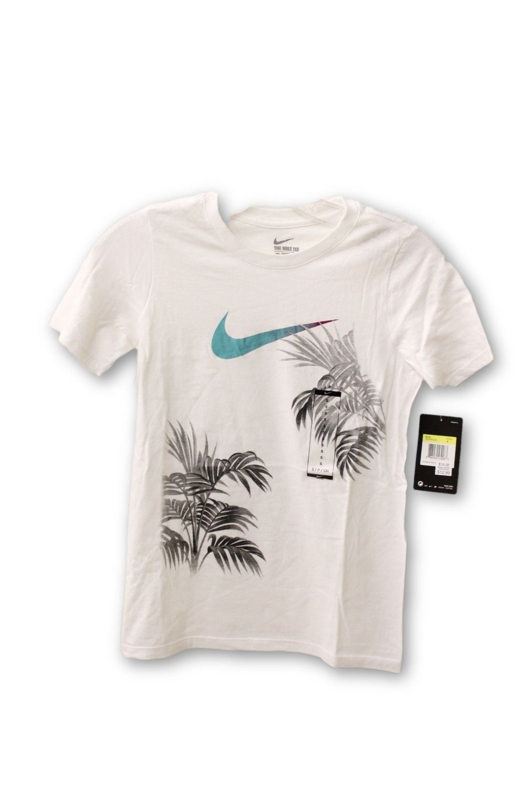 ec8a447f Nike Boy's Athletic Cut Graphic T Shirt White Swoosh with Palm Trees ...