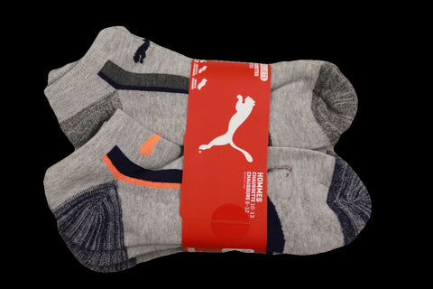 Puma Men's 6 Pack Low-Cut Sport Socks, Grey/Orange, Sock Size 10-13