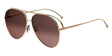 Fendi Women's Double Rim Aviator Sunglasses, Gold Copper/Brown, One Size
