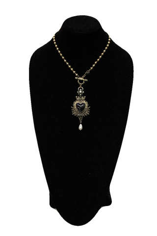 Free People Antique Black Heart Pendant Necklace