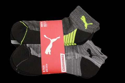 Puma Men's 6 Pack Quarter-Crew Sport Socks, Grey/Yellow, Sock Size 10-13