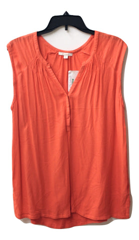 Ella Moss Women's Coral Sleeveless Quarter Buttoned Blouse, Size L