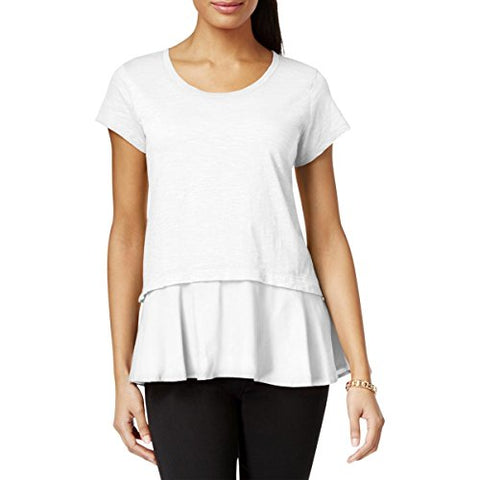 Style & Co. Womens Layered Look Peplum T-Shirt White XL