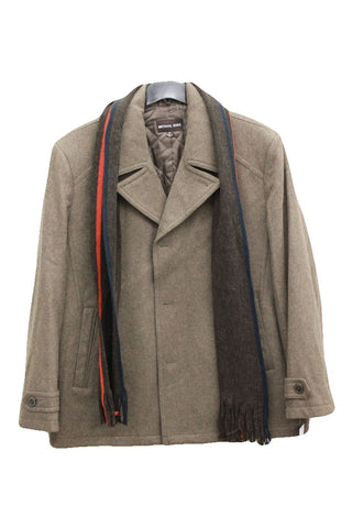 Michael Kors Mens Brown Wool Signature Peacoat, Size XXL