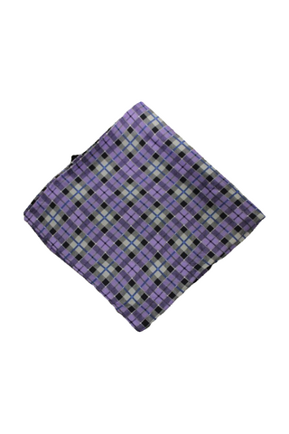 Bloomingdale's Men's Purple/Silver Checkered Pocket Square