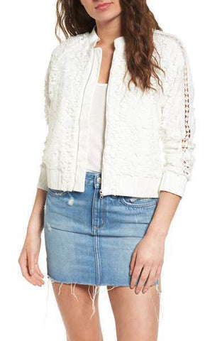 Devlin Women's White Bomber Lace Jacket NWT