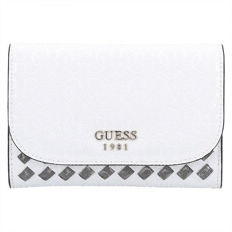 Guess Flutter SLG Double Date Monogram Flap Wallet for Women - White