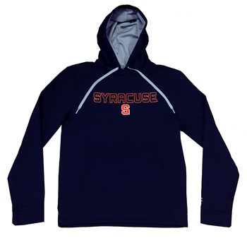 CHAMPION NAVY Mens ATHLETIC HOODIE SYRACUSE S Logo 100% Polyester Size Small