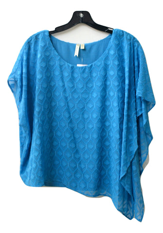 Chenault Women's Turquoise Asymmetrical Sheer Overlay Blouse, Size M