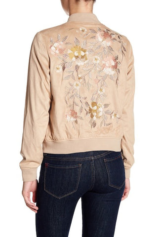 Bagatelle Women's Sand Embroidered Faux Suede Bomber Jacket, Size M