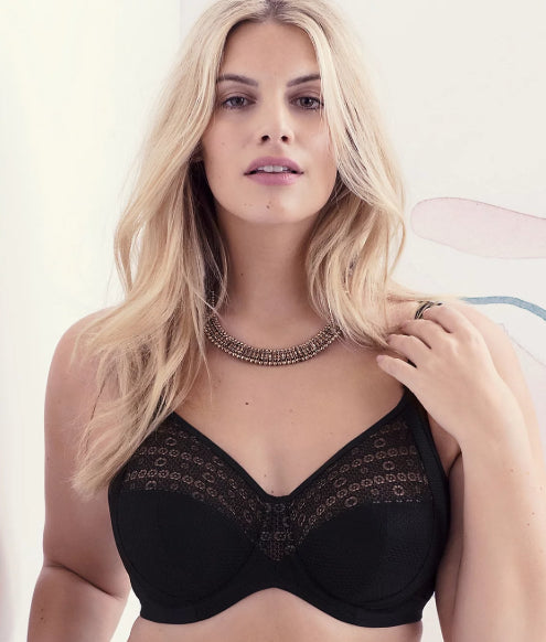 laest technology unequal in performance in stock Elomi Black Mitzi Side Support Bra, Size 40K