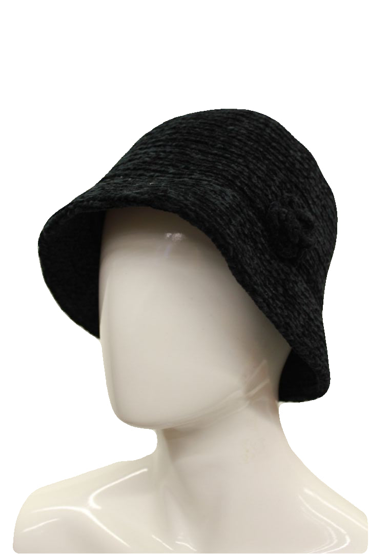 August Hat Company Women's Black Crochet Classic Chenille Knit Cloche Hat NWOT