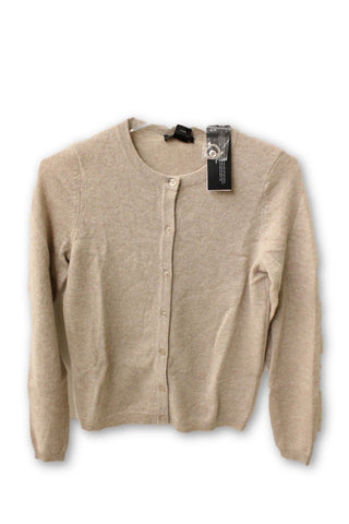 C by Bloomingdale's Women's Cashmere - Tan Crew Button Down Sweatshirt M NWT