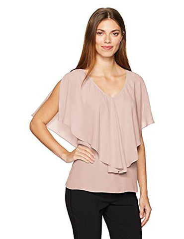 Max Studio Women's Light Pink Solid Blouse With Ruffle Detail, Size M