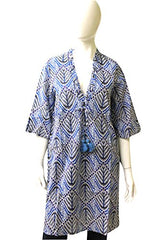 Fique Figue Light Weight Cotton Tunic, Size S, Blue