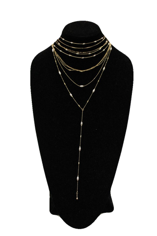 Free People Gold White Choker Chain Necklace w/ Drop