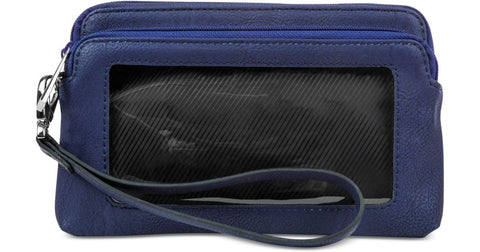 Kenneth Cole Reaction Navy Tech Double Zip RFID Wristlet