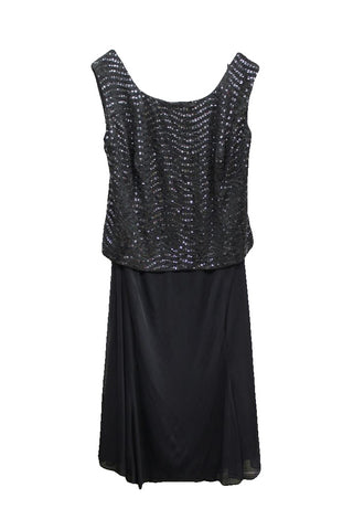 Alex Evenings Dark Gray Sleeveless Sequin Dress, Size 24W
