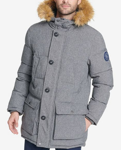 Tommy Hilfiger Men's Gray Long Parka With Faux Fur Hood, Size S NWOT
