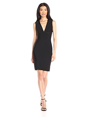 BCBGMax Azria Women's Oralie V Neck Bodycon Dress with Cut Out Back, Black, Small