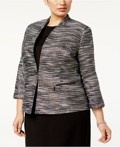 Kasper Women's Plus Size Metallic Tweed Blazer, 18W
