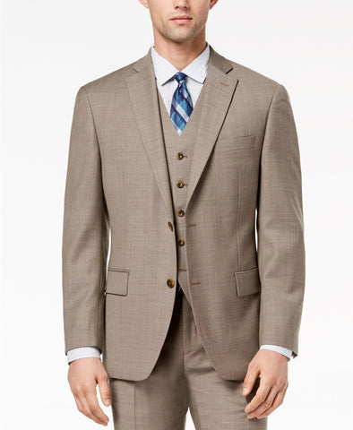 Michael Kors Men's Classic-Fit Brown Birdseye Vested Suit Jacket, Size 42S