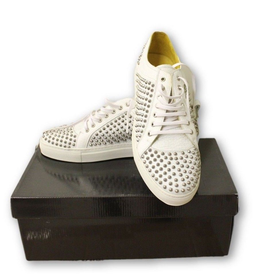 "Bogosse Men's White Full Grain Leather Studded Shoes ""Harry 01"" NIB"