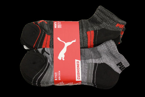 Puma Men's 6 Pack Quarter-Crew Sport Socks, Grey/Black, Sock Size 10-13