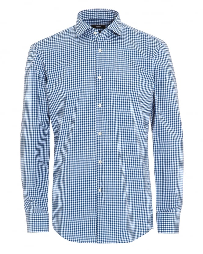 BOSS BUSINESS Mens Blue White Gingham Check Jason Shirt, Size M, New Without Tags