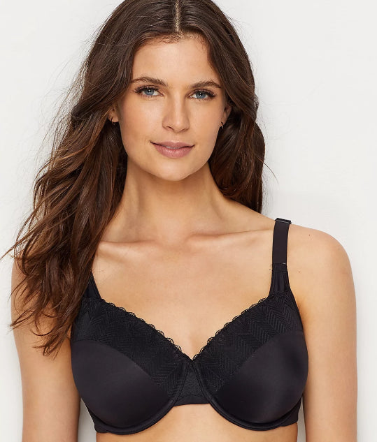 BALI BLACK LACE PASSION FOR COMFORT BACK SMOOTHING BRA, SIZE US 42D, NWOT