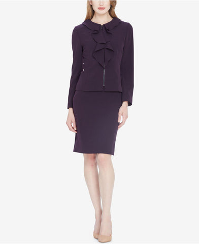 Tahari ASL Petite Women's Purple Ruffled Zip-front Skirt Suit, Size 14P