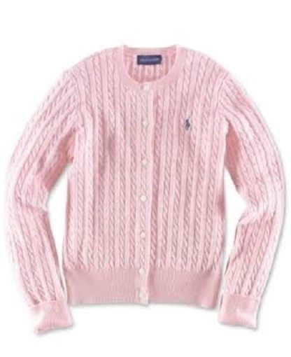 Ralph Lauren Girl's Cable-Knit Cotton Cardigan - Pink - NWT
