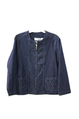 Alfred Dunner Womens Petite Family Jewels Embellished Jacket, Size 8P