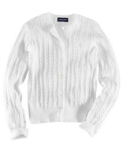Ralph Lauren Girl's Cable-Knit Cotton Cardigan - White - NWT