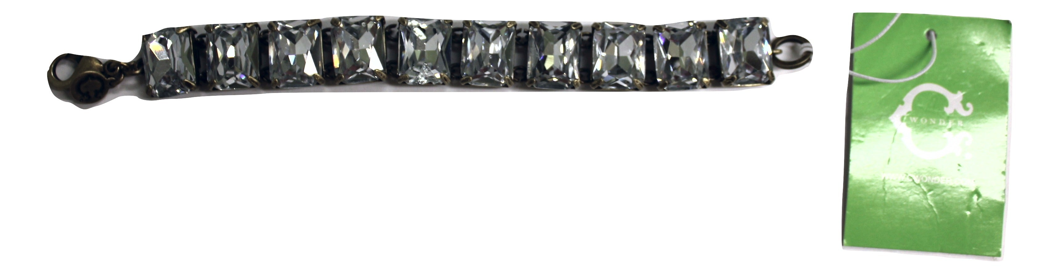C Wonder Bling Square Stone Bracelet, Crystal/Pewter