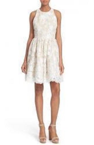 Alice & Olivia, Womens Floral Lace White Dress, Size 4, $395, NWT